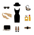 set with retro fashion objects women hats shoes vector image