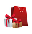 shopping bag with gift boxes icon vector image vector image