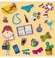 trendy girl and female things vector image vector image
