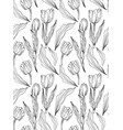 tulip engraved ink art seamless pattern vector image