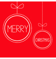 Two hanging red Christmas balls with bow Card vector image