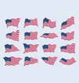 us flag waving in wind from different vector image