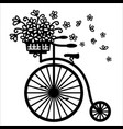 vintage bicycle with flowers in wicker basket vector image