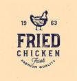 vintage rustic chicken emblem chicken vector image vector image