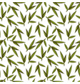 vintage sketched green leaves seamless pattern vector image