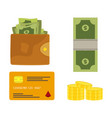 Wallet with money coins vector image