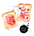 watercolor hand drawn breakfast sandwiches vector image