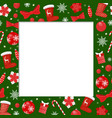 winter holiday frame with santa stockings border vector image vector image