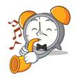 wityh trumpet alarm clock mascot cartoon vector image vector image