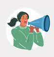 woman shout out with megaphone vector image vector image