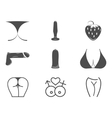 Collection of cute Sex shop icons Sexual symbols vector image