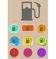 Gas station fuel pump black icon set vector image