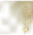 Light golden hearts vector image