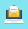 accepted email in envelope college acceptance vector image