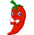 angry chili pepper cartoon vector image vector image