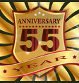 anniversary 55 th label with ribbon vector image vector image