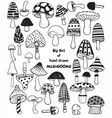 big set of sketch hand drawn doodle mushrooms vector image