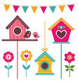 bird houses set vector image vector image