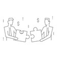 businessmen join puzzle portrait view linear vector image vector image