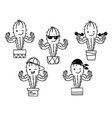 cactus show muscle biceps set printable cartoon vector image vector image