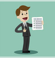 car service manager is holding check list of vector image