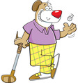 Cartoon dog leaning on a golf club vector image vector image