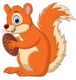 cartoon squirrel holding a nut vector image vector image