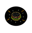 cheeseburger retro neon sign oval vector image