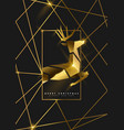 Christmas and new year gold 3d deer greeting card
