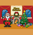 christmas greeting with cartoon santa and the vector image