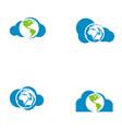 cloud tech logo vector image vector image