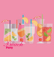 cocktail drink fruit juice in flat design style vector image vector image