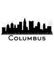 columbus city skyline black and white silhouette vector image vector image