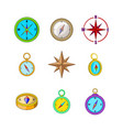 compass icon set cartoon style vector image