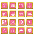 construction icons pink vector image vector image