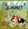 cute cartoon summer girl vector image