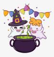 cute ghosts halloween cartoons vector image