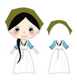 cute girl in green hanbok korean traditional vector image