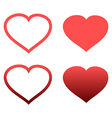 Different abstract red heart icons set vector image vector image