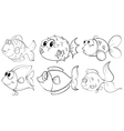 Different doodle design of fishes vector image vector image