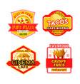 fast food menu icons fastfood bistro cafe vector image vector image
