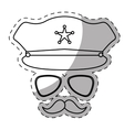 figure hat glasses and mustache police vector image