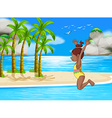 Girl and beach vector image vector image