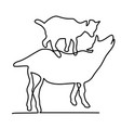 goat with a kid one line vector image vector image