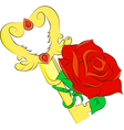 golden key and red rose isolated on white backgrou vector image