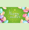happy easter writing amidst sparks and painted vector image vector image
