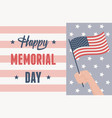 happy memorial day hand with flag remember and vector image