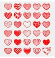 Heart Icons Set hand drawn doodl icons and vector image