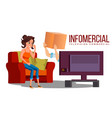 infomercial shop on the sofa woman sitting on vector image