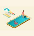 isometric design swimming pool vector image vector image